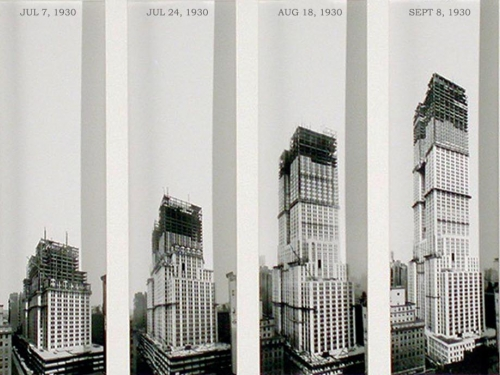 Composite photos showing construction of Empire State Building