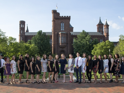 Young Ambassadors in front of Smithsonian Castle