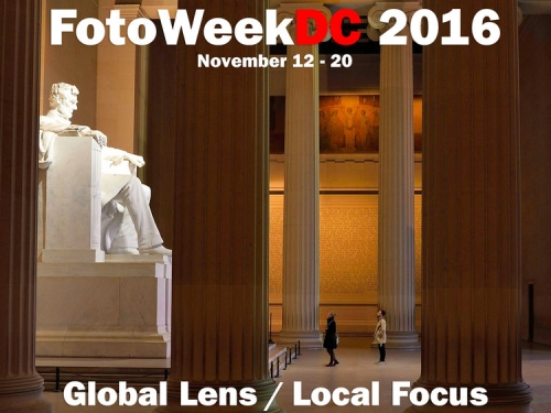FotoWeek logo superimposed on Lincoln Memorial
