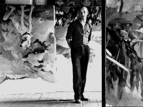 Black and white photo of George Baselitz