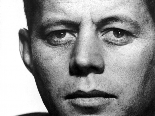 close-up head shot of young John F Kennedy