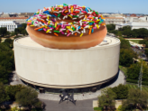Hirshhorn building with donut superimposed