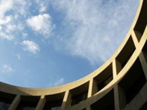 Hirshhorn exterior photographed from below