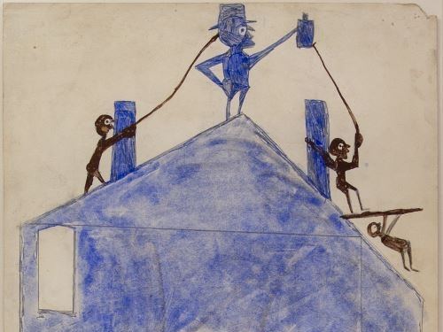 Drawing of man on house