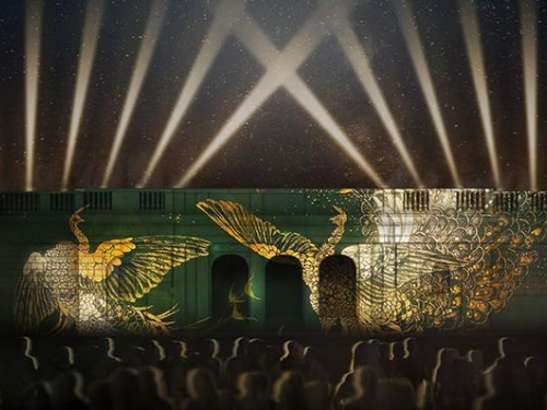 Artists rendering of video projection on building