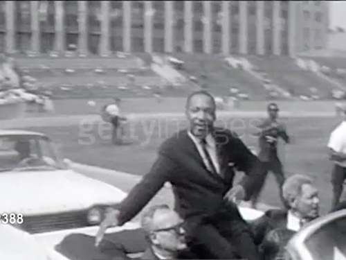 Video still of Martin Luther King with Getty Images superimposed