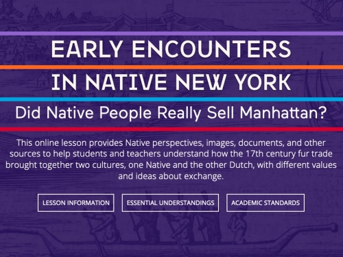 Logo for educational program Early encounters in Native New York
