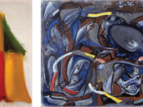 Diptych of two abstract paintings