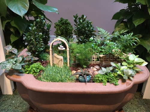 dish garden with succulents and tiny arbor