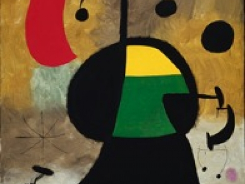 Abstract painting in black, red, yellow, green