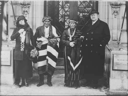 George and Thea Heye with two Native Americans