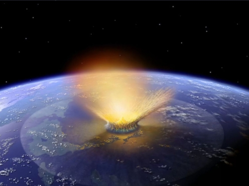 Artist's rendering of asteroid hitting the earth