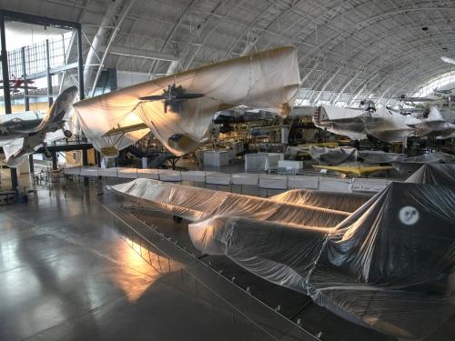 shrouded planes at Udvar-Hazy hangar