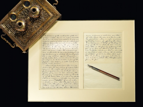 Inkwell and Emancipation Proclamation draft with Lincoln's pen