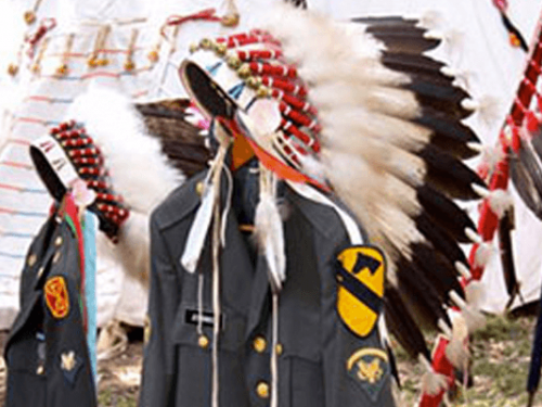 headdresses with military uniforms
