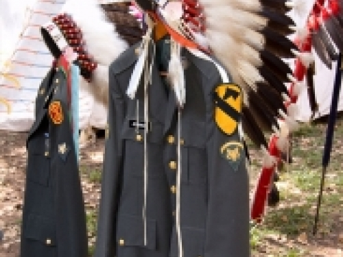 Military uniforms with Native American headdress