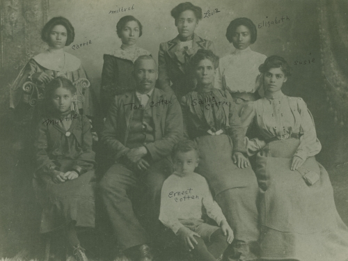 Aged, family group photograph from 1901