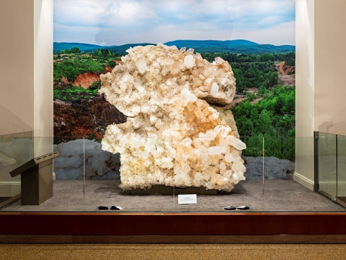 Quartz slab on display