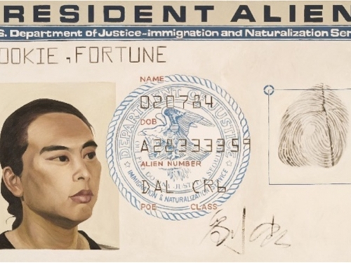 Painting resembling identification card