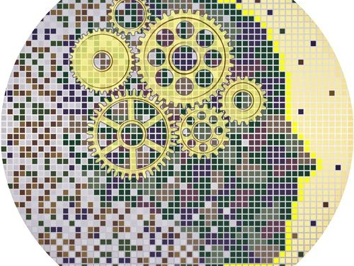 Abstract graphic of gears and computer code