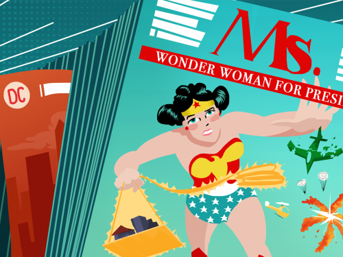 Illustration of Wonder Woman comics on Ms. Magazine