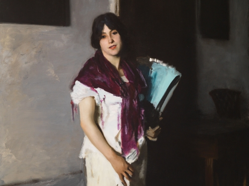 Painting of a woman holding a book