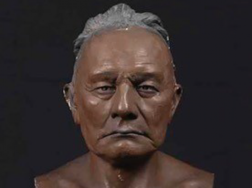 Photo of bust of Osage leader