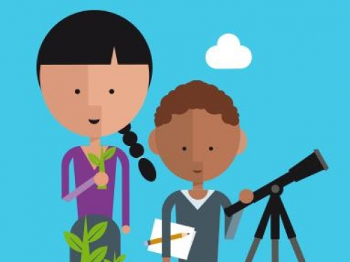 Cartoon image of children using scientific tools