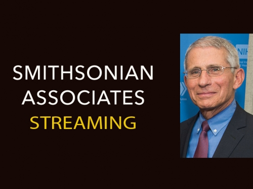 Smithsonian Associates Streaming banner with Alda and Fauci