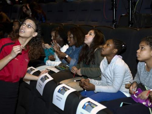 teen students watching presentation