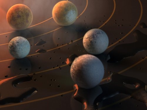 Artist's rendering of planets on flat surface
