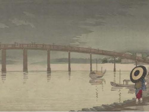 Woodblock print of Tokyo bridge by Kiyochika