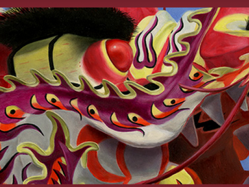 Cropped closeup of Chinese dragon