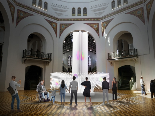 Rendering of building interior with people standing around a lit sculpture