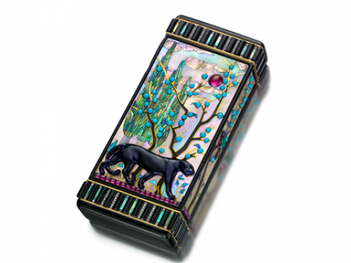 jeweled case showing black panther