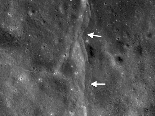 Lunar Lobate Thrust Fault Scarp