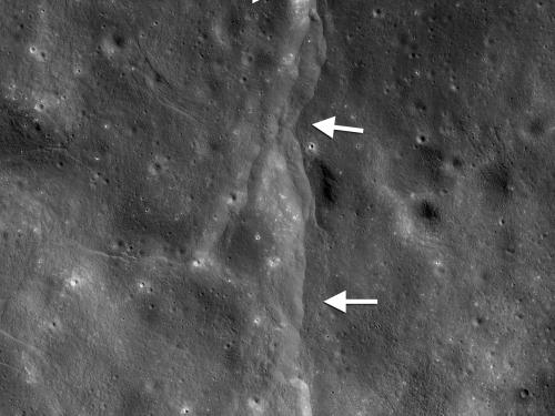 Lunar Lobate Thrust Fault Scarp
