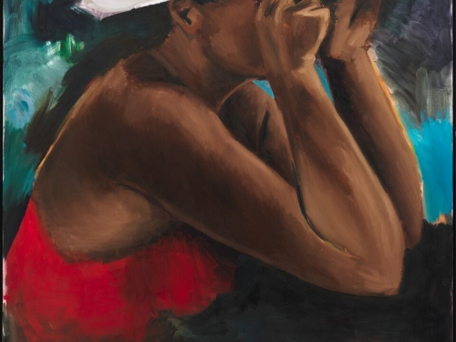 Painting of black woman with hands to her face
