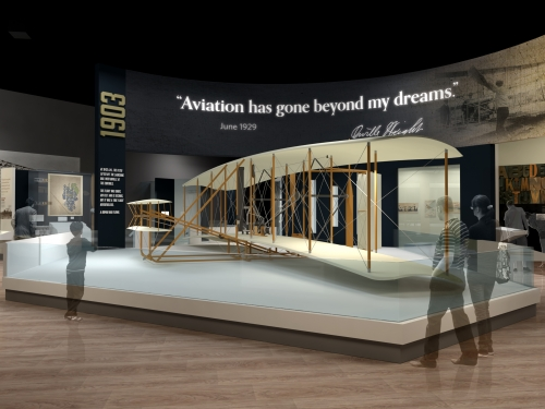 Rendering of exhibit with Wright Brother plane in center of the room