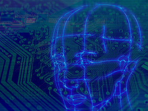 Illustration of computer motherboard and outline of a head.
