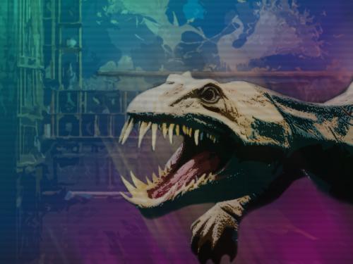 dinosaur head illustrated with sharp teeth.