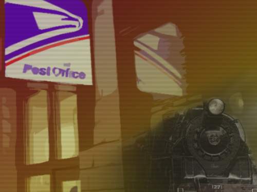 illustration post office sign and train.