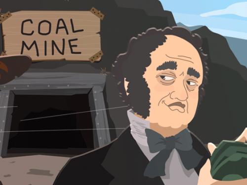 Coal miner and coal mine illustration