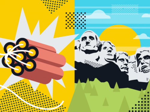 illustration on dynamite and Mt Rushmore.