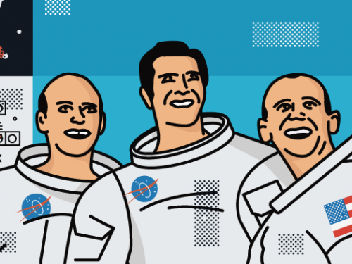 illustration of Apollo crew.