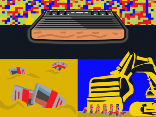 Atari joy stick and game console.