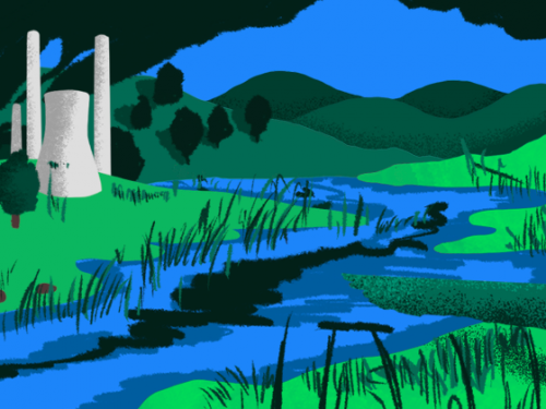 River illustration with factory.