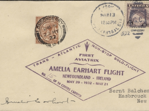 Amelia Earhart Solo Trans-Atlantic Mail, 1932