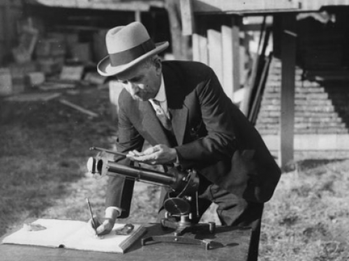 Secretary Abbot reading the pyrheliometer