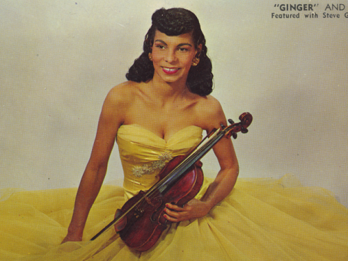Ginger in a yellow dress with violin